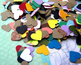 Paper Confetti- 500 paper hearts in a mix of papers and colors - great for  weddings -  showers - card making - confetti - scrap booking -