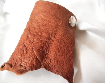 SALE! Soft Leather Cuff Bracelet, Ragged Tan Brown Leather Wristband, Wide Cuff Leather Jewelry,  by Bumbleberry Jewelry