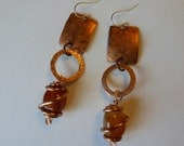 Handcrafted Copper Earrings with Natural Fire Agate Stones