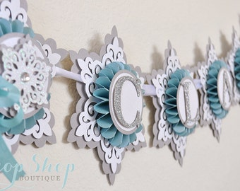 Frozen Inspired Snow Princess Birthday Banner, Special Occasion, name banner, nursery decor, high chair banner, photo prop