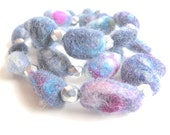 "Delicate felt beads necklace ""Trianon"", pure wool, glass beads, felted, marbled, blue hues, silver, blue, purple, pink, OOAK, one of a kind"