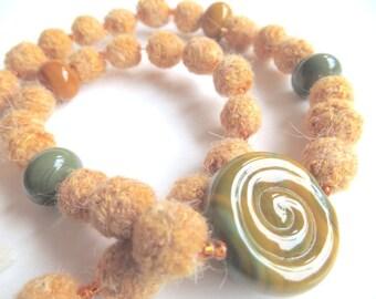 "Plant dyed felt Ahimsa Silk/Peace Silk necklace ""Mango"", organic wool, seed beads, lampwork beads, orange, olive green, OOAK, one of a kind"