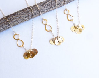 SET of THREE Gold Infinity Three Initial Necklaces -- 14k Gold Filled Chain -- Personalized -- Friendship -- Sisters -- Mothers Necklace