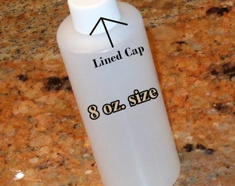 8 oz HDPE Plastic BOTTLE + LINED Cap (24/410) Natural Color for Bath / Beauty Products, Oils, Lotion