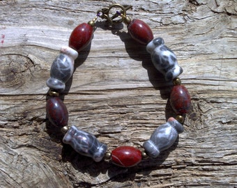 Marble,red jasper,brass beaded bracelet 7 1/2 inch