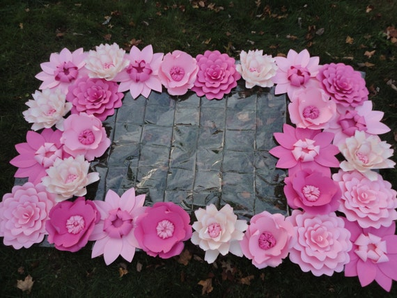 Items Similar To Pink Paper Flower Backdrop Flower Wall 4