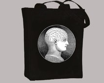 Vintage Phrenology illustration NATURAL or BLACK Canvas Tote -- Selection of sizes available