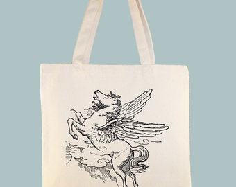 Vintage Pegasus Illustration Canvas Tote -- Selection of Sizes available.
