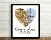 Personalized Map Print Custom Wedding Gift Heart Map Print Heart Map Poster Heart Map Art Any City Available City Print City Art City Map