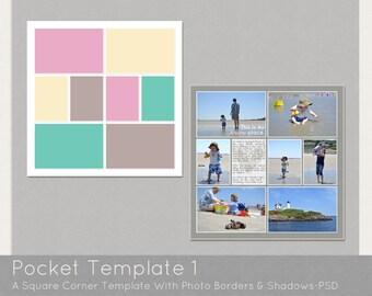 Digital Pocket Page PSD Scrapbook Template-Design 1