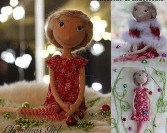 Cloth Doll Making Sewing Kit PATTERN TUTORIAL MATERIALS Christmas Girl diy