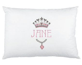 Princess Tiara Personalized Pillowcase - Custom Printed Children's Pillow Cases - Birthday Girl Party Favors - Fairytale Princess Crown
