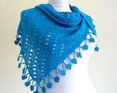 crochet scarf, hand-knitted, winter fashion, gift,  Women shawl,  blue, christmas,holiday gift