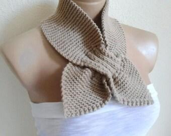 knitting scarf, Headband, neckwarmer, Holiday , Accessories, valentines day, gift, fashion scarf, Beige