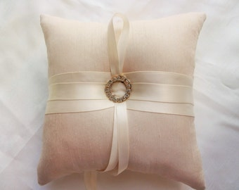 ring bearer pillow, wedding ring pillow, bridal ring pillow, champagne ring pillow, ring bearer