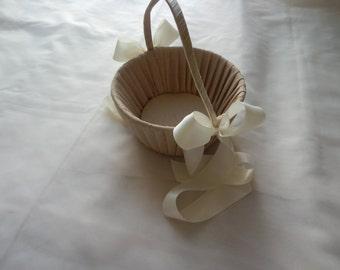 Champagane Flower Girl Basket Shantung Silk with Ivory Ribbon