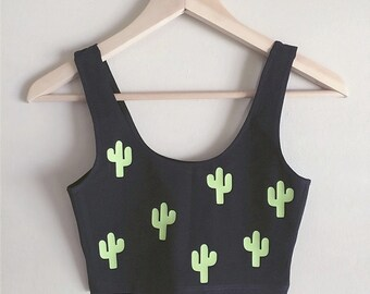 Cacti Spandex Crop Tank - Made in USA by So Effing Cute