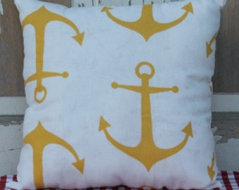 Gold and White Anchor Pillow