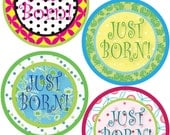 ADD ON Just Born Stickers for Baby, Just Born Stickers  - Polkadot - Just Born Stickers -Baby Shower Gift - Baby