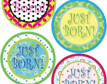 Just Born Stickers for Baby, Just Born Stickers  - Polkadot - Just Born Stickers -Baby Shower Gift - Baby