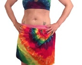 Tie Dye RAINBOW festival wrap fringe style skirt with halter top burning man