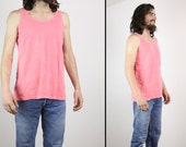 80s 90s MENS Cotton Soft Cotton Shirt Bright Coral Tee, large