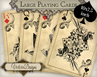 Large Alice in Wonderland Playing Cards printable paper craft hobby crafting scrapbooking instant download digital collage sheet - VD0603