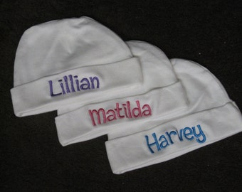 2 - Personalized Baby Knit Hat and 2- blankets