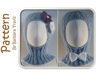 Knitting Pattern Toddler and Child Hood With Bow or Flower 2 Sizes Boy or Girl Hoodie