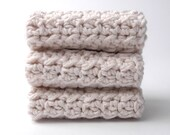 Ecru Linen Washcloths Premium Stitch Cotton Crochet Handmade Set of Three