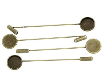4 Bronze Metal Stick Pins, brooch pins, fits 12mm round cabochons, bezel tray,   fin0309a