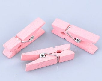 50 Bulk Package Painted Wood Clothespin Clip Findings, LIGHT PINK  fin0248b