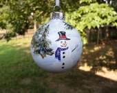 Hand Painted Glass Christmas  Ornament with snowman in snowy woods no 20