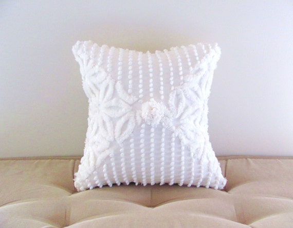 white chenille pillow cover 12 X 12 PEARLS AND DAISIES white cushion cover shabby style cottage chic