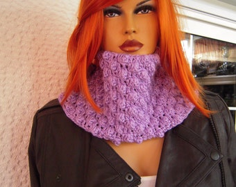 neckwarmer handmade crochet eco friendly neckwarmer in  raspberry stitch/light purple gift idea for her women accessories  by golden yarn
