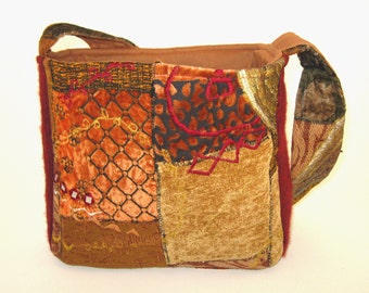Felted Red WOOL & AUTUMN TAPESTRY Purse / Shoulder Bag / Lined with Pockets and Snaps / From Upcycled Jacket / Eco Friendly Gift #041