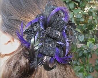 Wedding fascinator Black and purple romantic hair clip