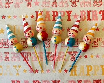 Festive Clowns Cupcake Toppers