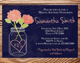 Mason Jar Roses Bridal Shower Invitation, Roses, Mason Jar, Coral Roses, Navy, Mason Jar Wedding Shower, Bridal Shower Invitation, 5221