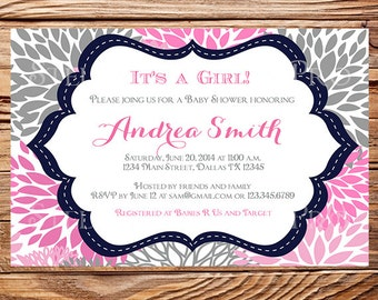 Baby shower invitation, floral baby shower Invitation, boy, girl, baby Shower Invite, blue, pink, gray, 1103