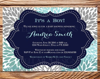 Baby shower invitation, floral baby shower Invitation, boy, girl, baby Shower Invite, navy, blue, pink, gray, 1107