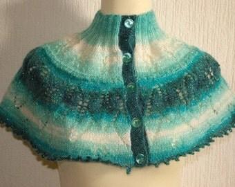 Hand knitted women's green haze capelet / shawl / neckwarmer.