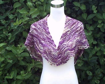 Women's hand knitted hand dyed luxury shawl / shawlette. OOAK
