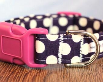 Eggplant Polka Dot Dog Collar - Purple Dog Collar - Girl Dog Collar - Pink Dog Collar - Dot Dog Collar - Custom Dog Collar