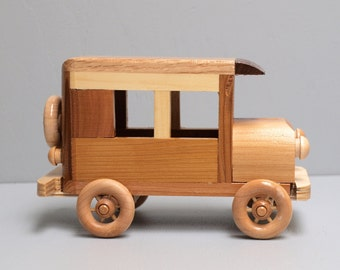 Wooden Toy Car for Children Old Vintage Model-T Ford Style Eco Friendly Reclaimed Wood Natural Organic