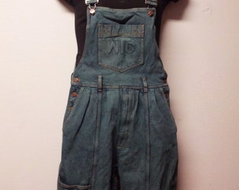 Vintage 90's  Hand dyed Olive Military Green  Denim  Overalls  -   Sz Small Short
