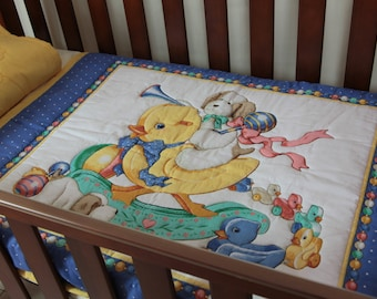 Lovely Rocking Horse Baby Quilt with matching pillowcase