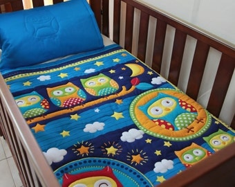 Quilt Baby Blue Owls, Owls & More Owls and Pillow Case
