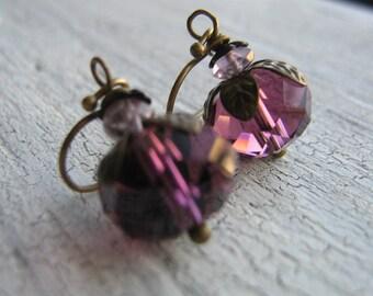 15% Off Any Order Purple Czech Glass Earrings, Small Earrings, Antiqued Brass
