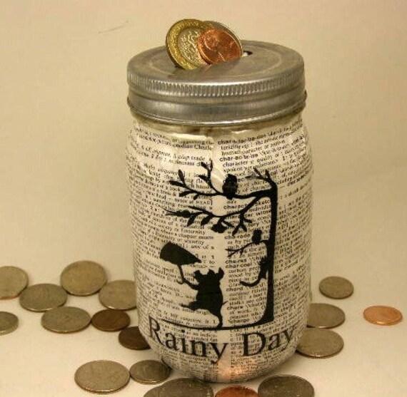 Mason jar piggy bank coin bank rainy day umbrella with pigs for Mason jar piggy bank